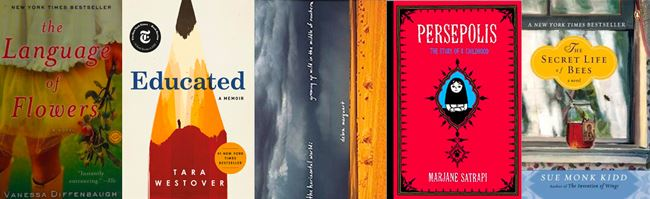 5 book covers: the language of flowers, educated, the horizontal world, Persepolis, the secret life