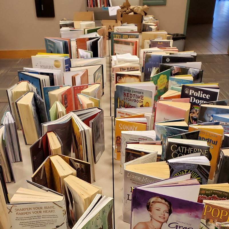 quarantined books standing open on a table