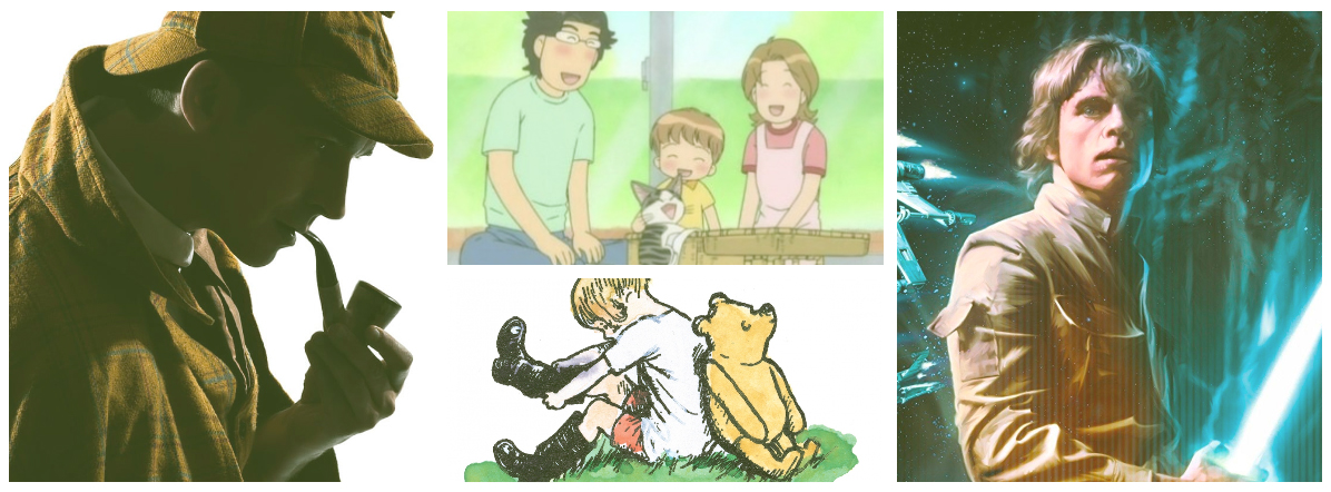 Picture collage of Sherlock Holmes, Chi's Sweet Home, Winnie-the-Pooh, and Luke Skywalker