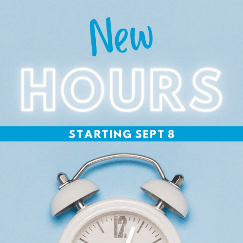 image of a while alarm clock with the text New Hours staring Sept 8 above